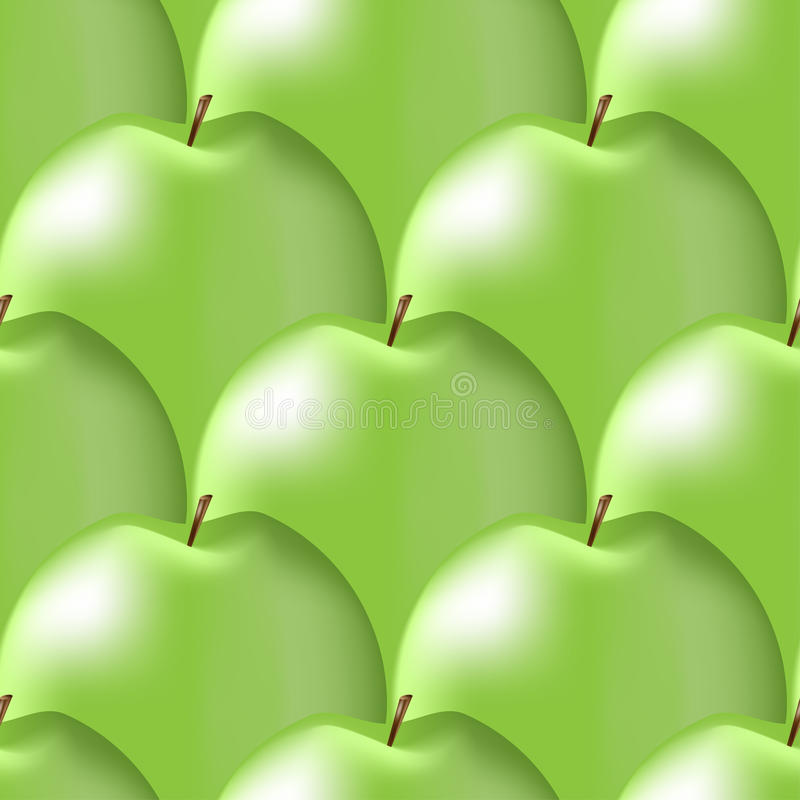 Seamless pattern of shiny green apples stock photos