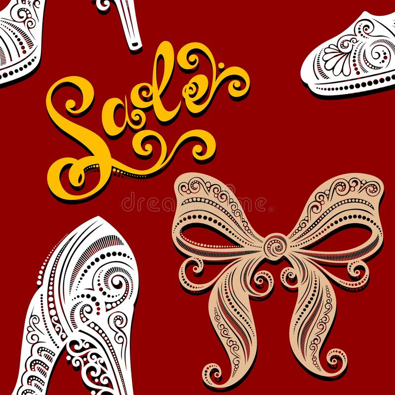 Download Seamless Pattern With Shoes, Sale (Vector) Stock Vector - Image: 36272992
