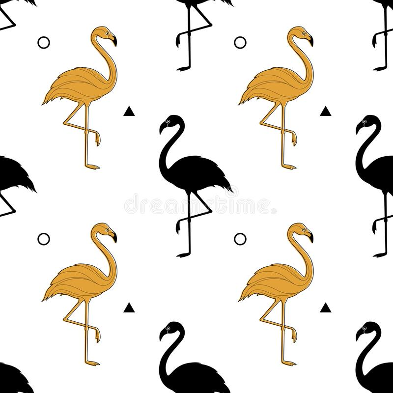 Seamless pattern with a silhouette of a golden flamingo on a white background. Vector. A simple pattern. stock illustration
