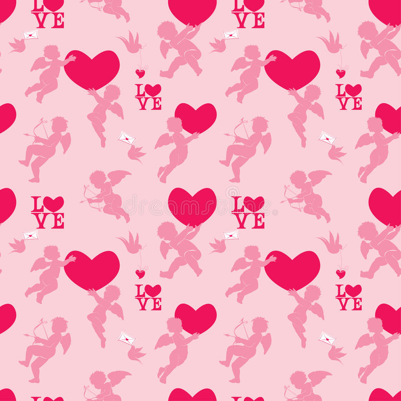Seamless pattern with silhouettes of angel, heart, bird and call stock illustration