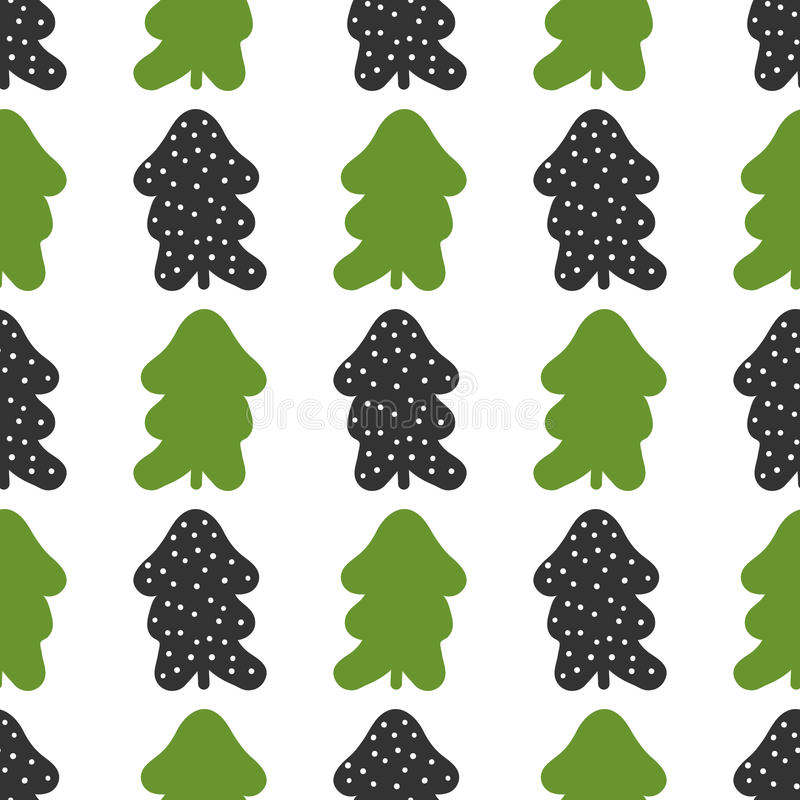 Seamless pattern with silhouettes of Christmas trees and round snowflakes. royalty free illustration