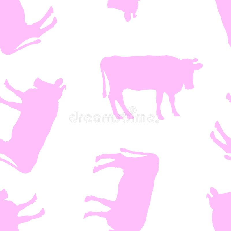 Seamless pattern. Silhouettes of cows. stock photo