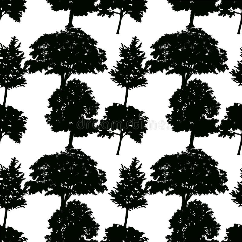 Seamless pattern of silhouettes of deciduous trees on white forest background stock illustration