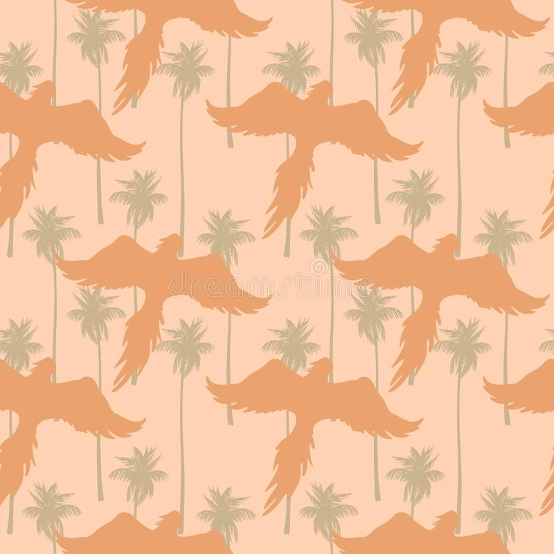 Seamless pattern with silhouettes of flying parrots against a tropical garden background. royalty free illustration