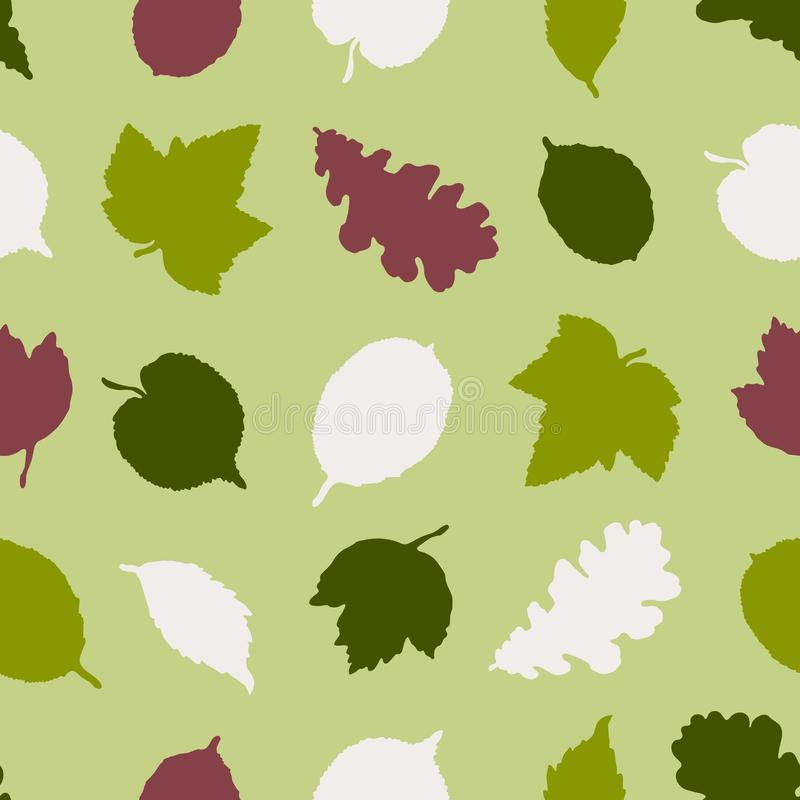 Seamless pattern with silhouettes of leaves of trees of an oak, a birch, a linden. Hand drawn. royalty free illustration