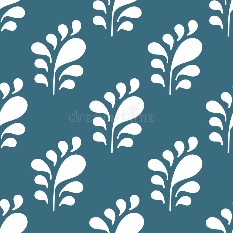 Seamless pattern with Silhouettes of simple stylized branches with leaves . Vector background for fabric, wrapping paper,. Wallpaper, stationery, bedding and vector illustration