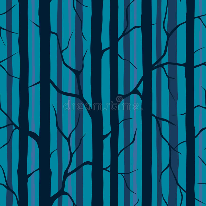 Seamless Pattern with Silhouettes of Trees. stock illustration