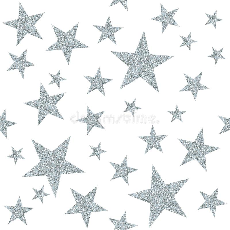 Seamless pattern with silver stars on white background. royalty free illustration
