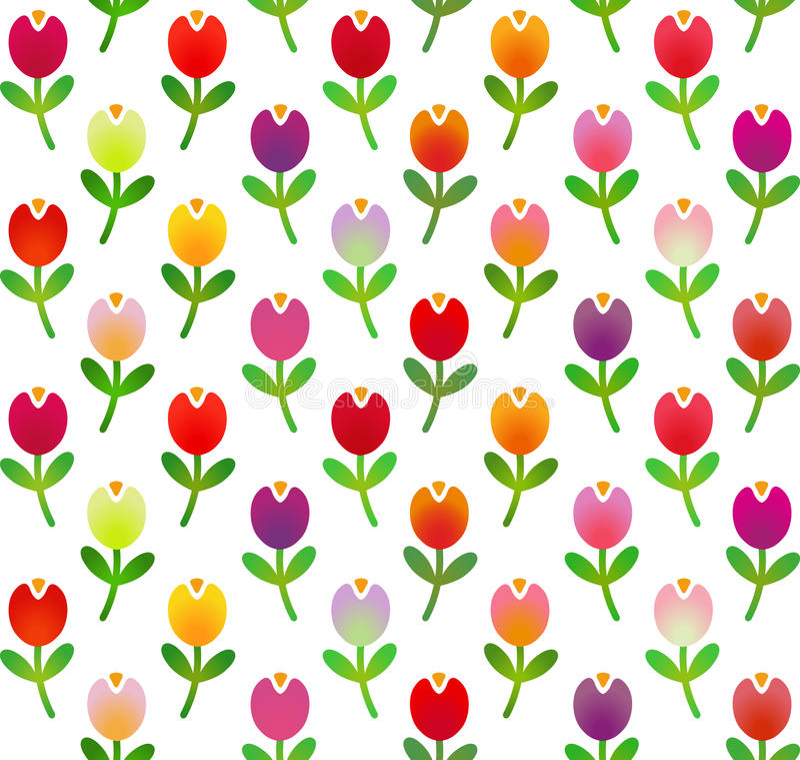 Seamless pattern in simple cartoon style with motley tulips. Vector illustration vector illustration