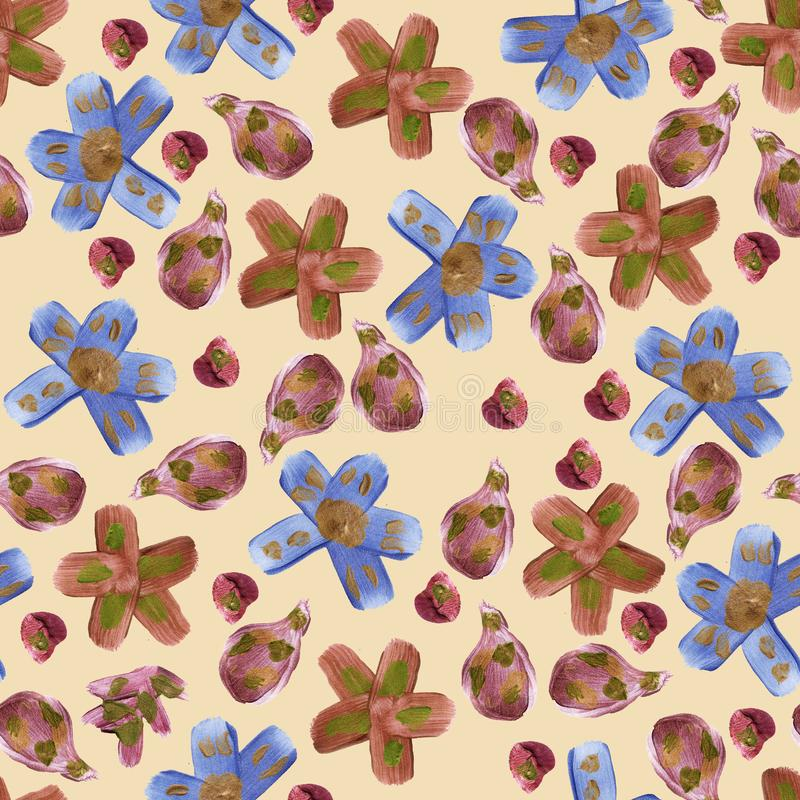Seamless pattern with simple gold flower illustration stock illustration