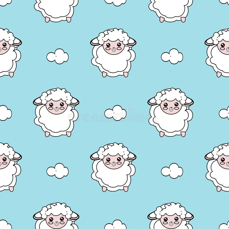 Seamless Pattern of Simple Line Drawing Sheep on neutral blue Background. Cute Repeated  Illustration stock illustration