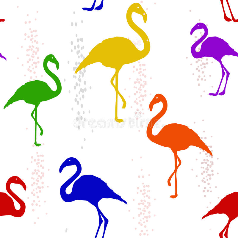 Seamless pattern with six-colored rainbow Flamingo stock illustration