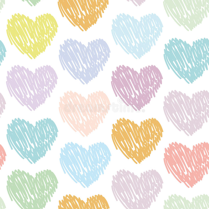 Pastel Purple Pink Green Blue Timber Wood Look: Seamless Pattern With Sketch Hearts On A White Background