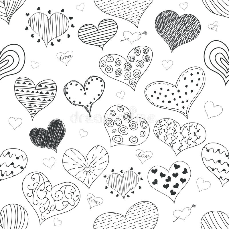 Seamless Pattern Sketch Romantic Love Hearts Retro Doodles Icons Set Valentine s Day Vector Illustration vector illustration