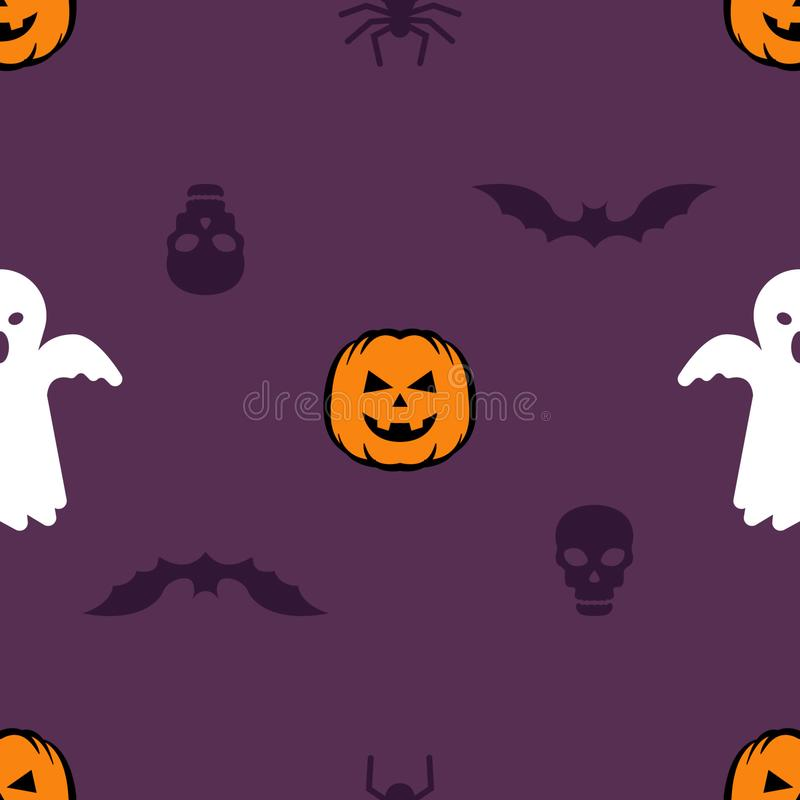 Seamless pattern with skull, bat, pumpkin, and ghost. Halloween pattern for background, textile, wallpaper and wrapping paper stock illustration