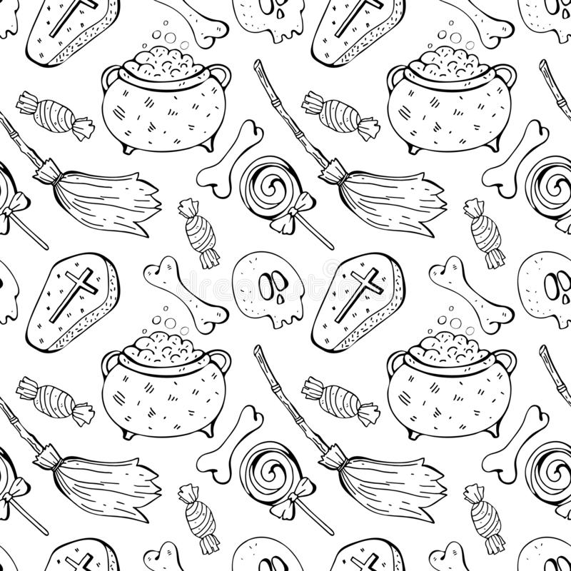 Seamless pattern in  skull, bone, broom, sweets. Black and white background line. Hand drawn design for textile, paper,. Wallpaper, packaging. Doodle style royalty free illustration