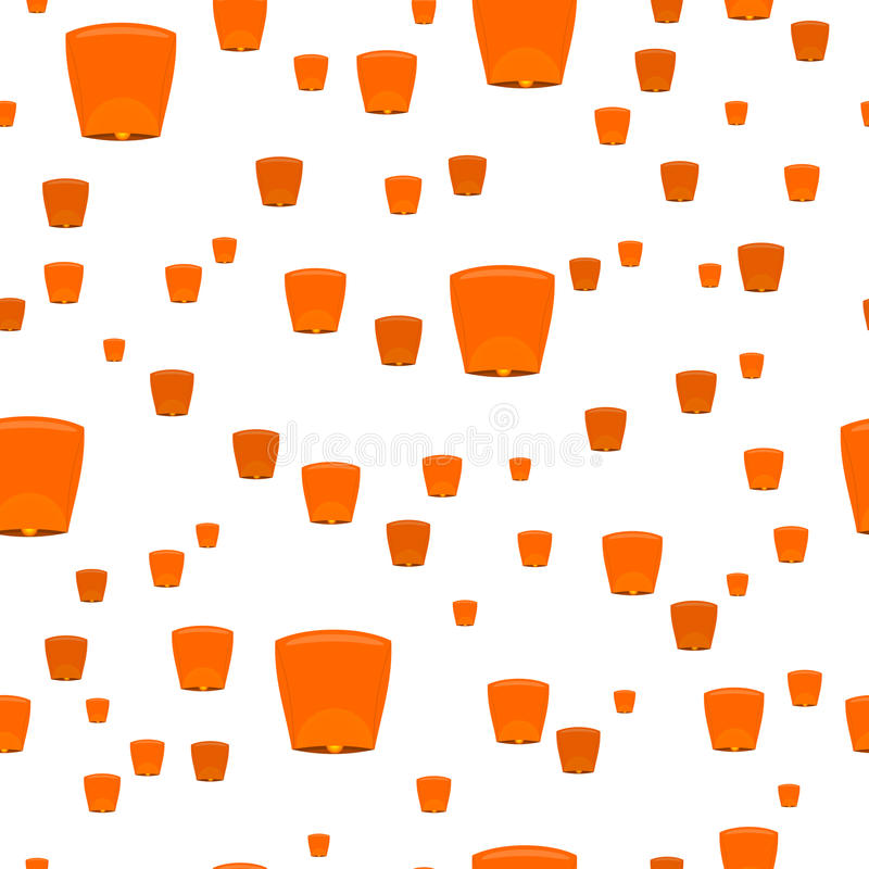 Seamless Pattern with Sky Lanterns Isolated vector illustration