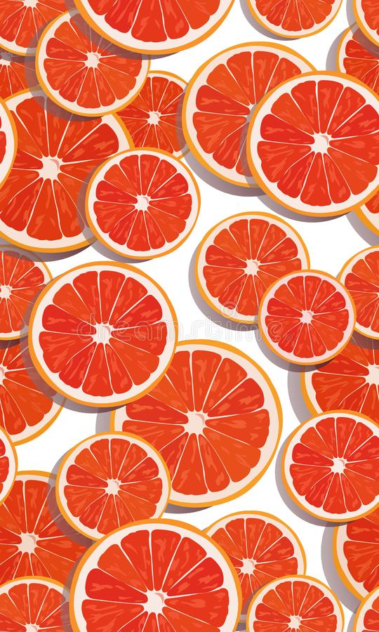 Seamless pattern slice orange fruits overlapping on white background with shadow. Grapefruit vector royalty free illustration