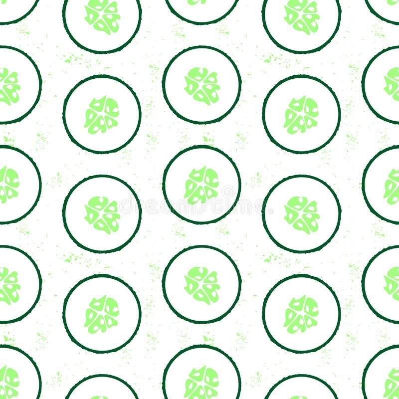 Seamless pattern with sliced cucumber - summer season vegetable. Close up drawing of cut cucumber. royalty free illustration
