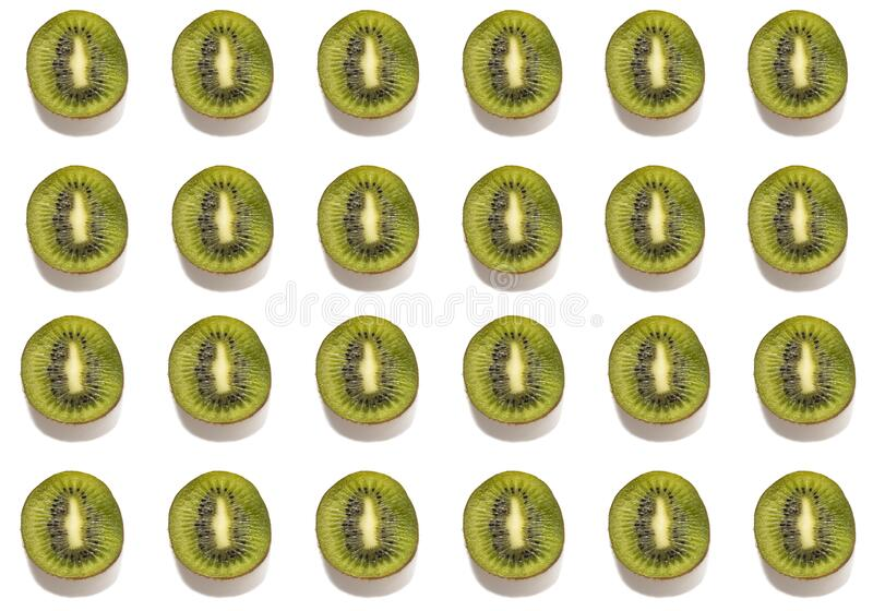 Seamless pattern, sliced green kiwi slices laid out in rows.  stock photo