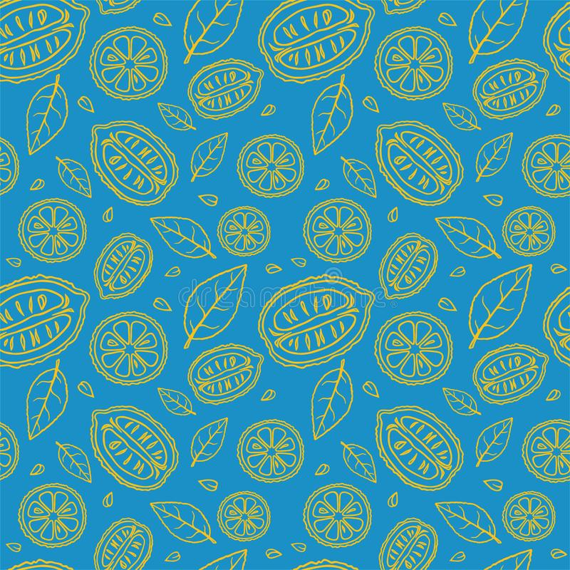 Seamless light blue pattern with doodles of yellow sliced lemons and leaves royalty free stock images