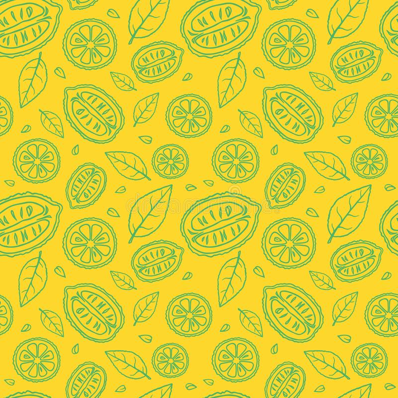 Seamless yellow pattern with doodles of sliced green lemons and leaves royalty free stock photography