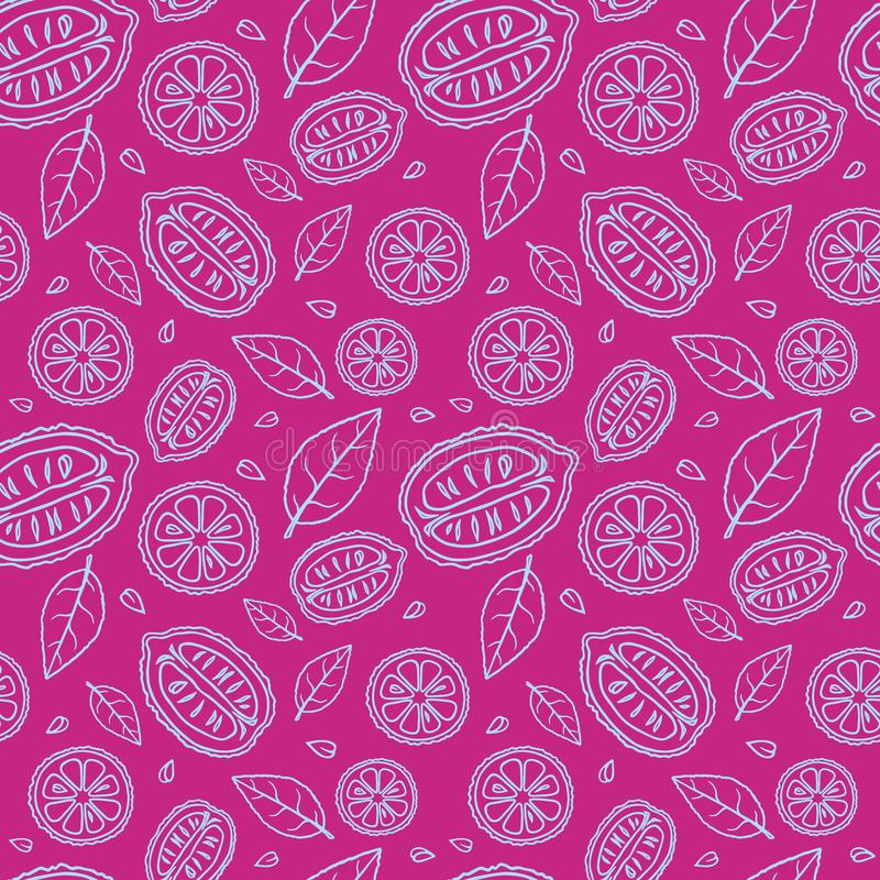 Seamless purple pattern with doodles of blue sliced lemons and leaves stock image