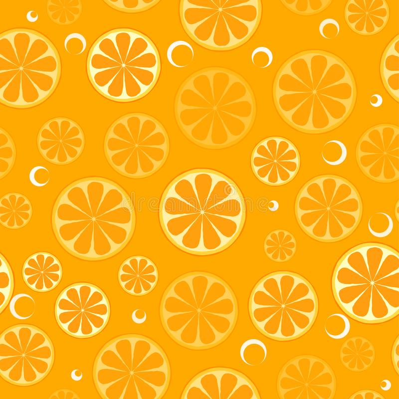 Seamless pattern with sliced oranges. Background for textile, kitchen dish and wrapping paper royalty free illustration
