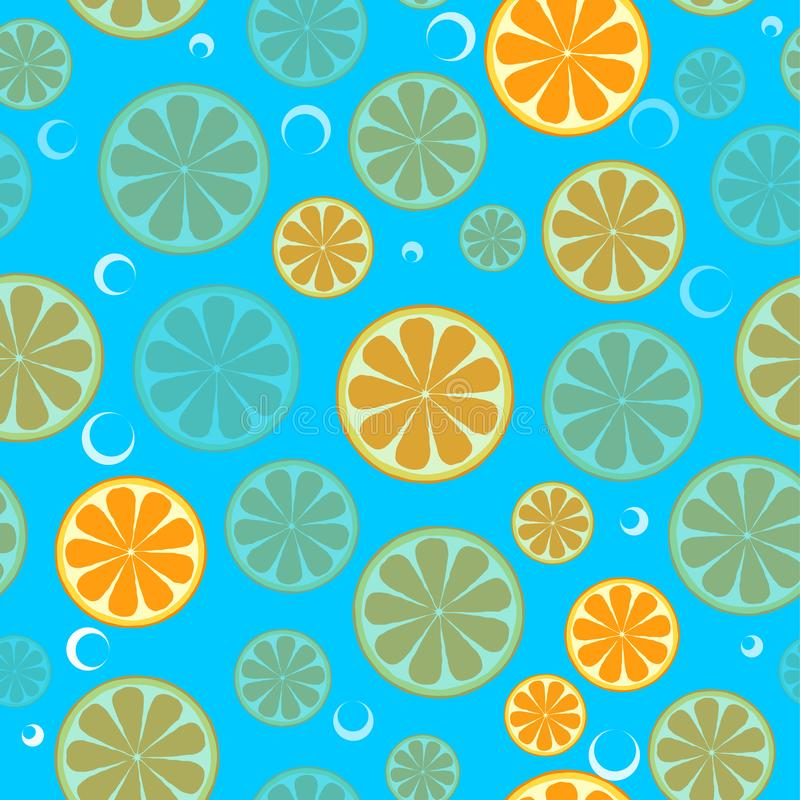 Seamless pattern with sliced oranges. Background for textile, kitchen dish and wrapping paper.  vector illustration