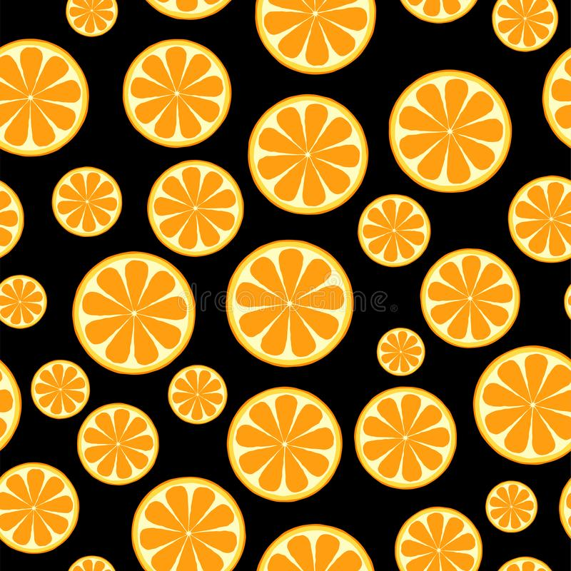 Seamless pattern with sliced oranges. Background for textile, kitchen dish and wrapping paper.  stock illustration