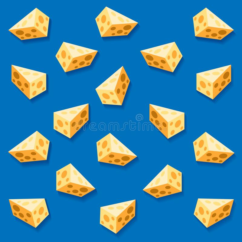Seamless pattern with a slices of cheese on a blue background. stock image