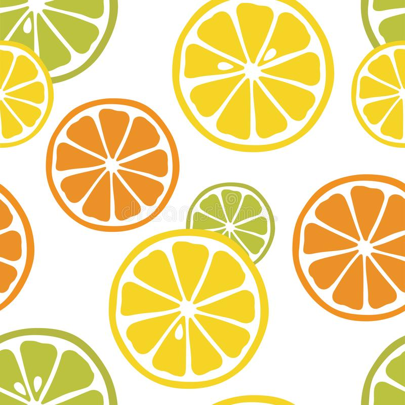 Seamless pattern with slices of lemon, orange and lime on the white background. vector illustration