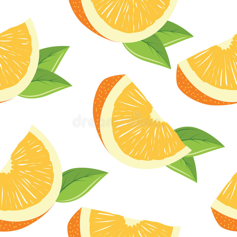 Seamless pattern with slices of orange vector illustration