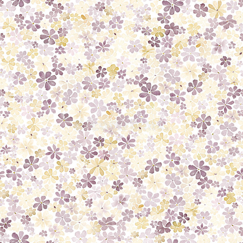 Seamless pattern with small brown and yellow flowers. Watercolor stock illustration