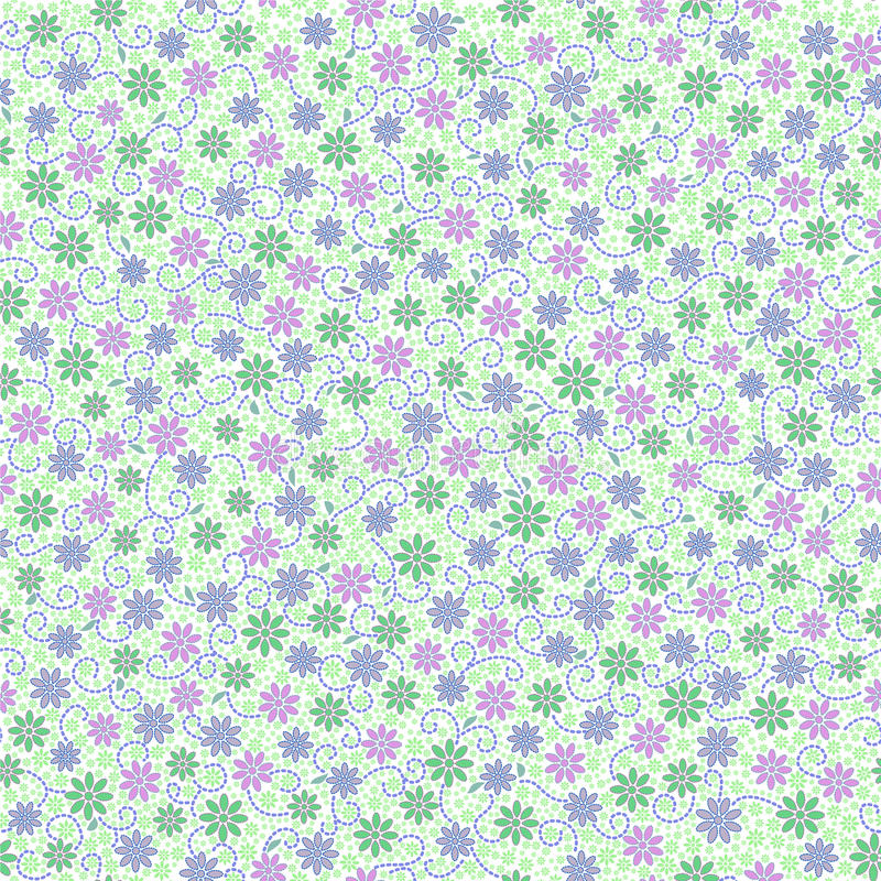 Seamless pattern with small gentle daisy flowers in pink, green vector illustration