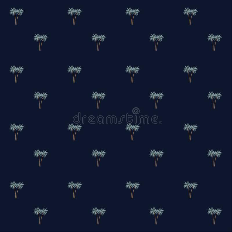 Seamless pattern of small palm trees on a navy. Background in the style of handrawn vector illustration