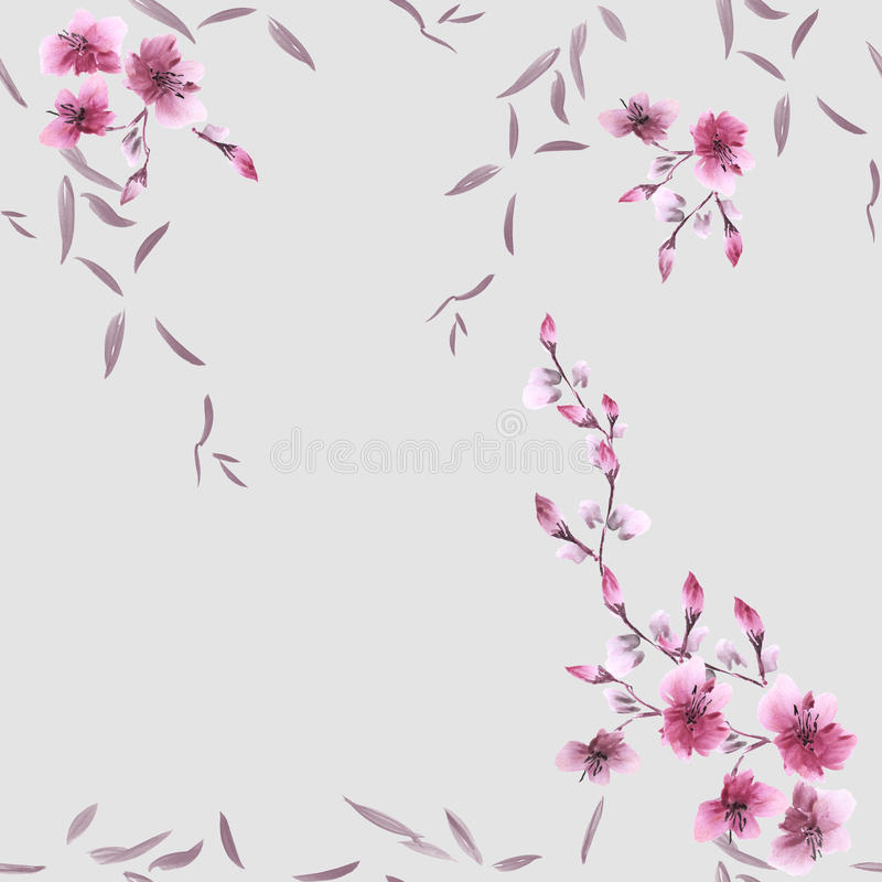 Seamless pattern small pink flowers and gray leaves on the gray background. Watercolor stock photos