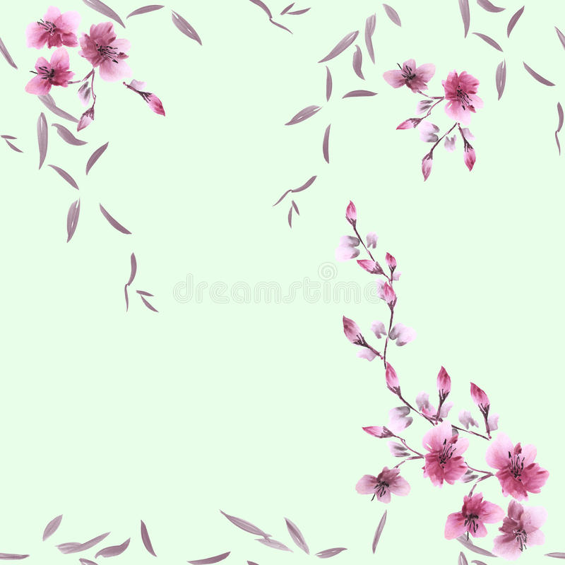 Seamless pattern small pink flowers and gray leaves on a green background. Watercolor royalty free stock photography