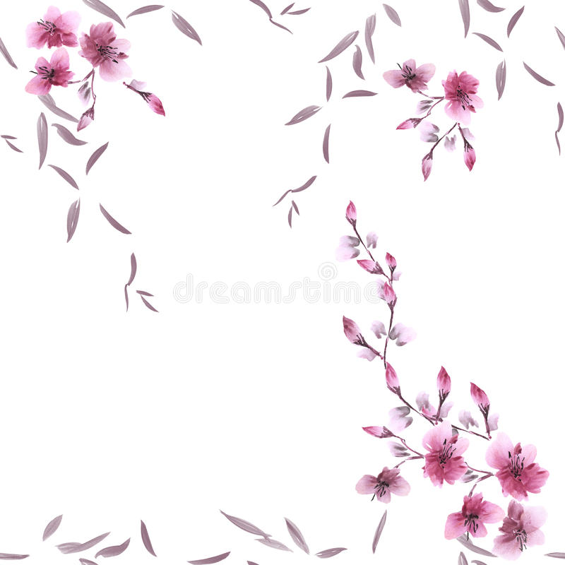 Seamless pattern small pink flowers and gray leaves on the white background. Watercolor stock images