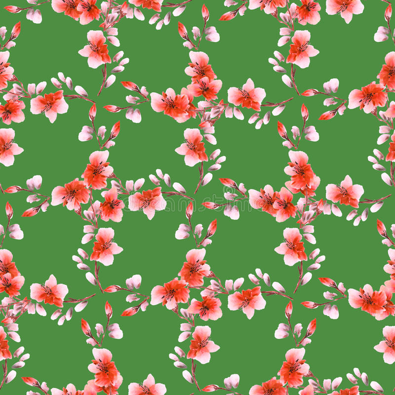 Seamless pattern small red flowers and branches on a deep green background. Floral background. Watercolor royalty free stock photo