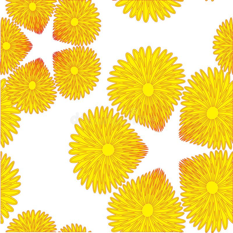 Seamless pattern with a small of red and yellow flowers stock illustration