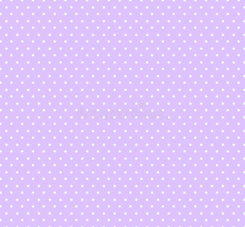 Light pastel violet bakground with white polka dots seamless circle pattern for kids,fabrics .Baby shower decoration background. stock illustration