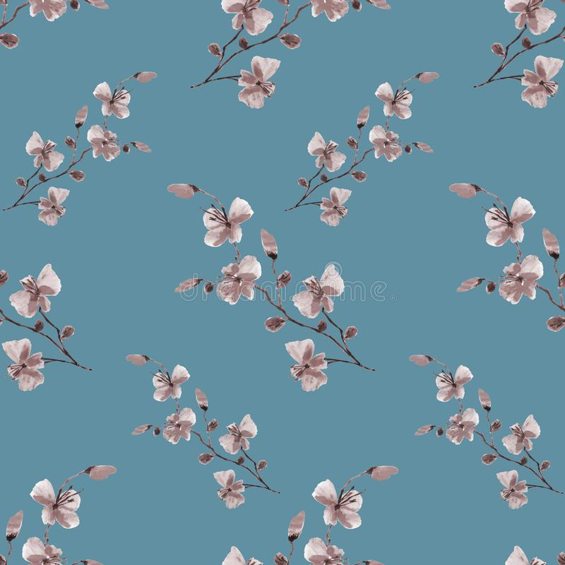 Seamless pattern small wild beige flowers on a deep turquoise background. Watercolor stock photos