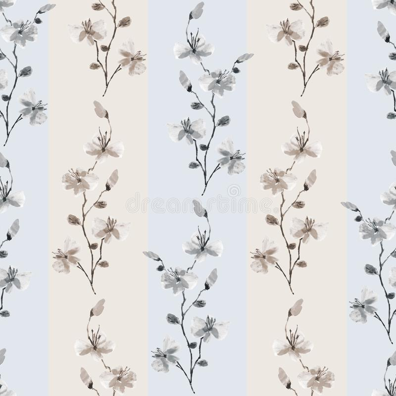 Seamless pattern small wild beige and gray branchs of flowers with beige strips on a light blue background. Watercolor royalty free stock photos