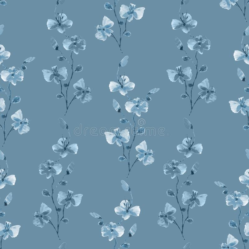 Seamless pattern small wild blue branches of flowers on a deep blue background. Watercolor -6 royalty free stock image