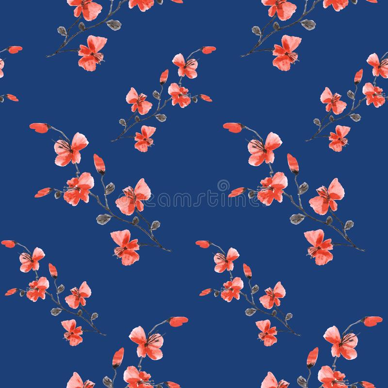 Seamless pattern small wild dark red flowers on a deep blue background. Watercolor- 4 royalty free stock image