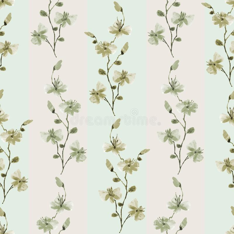 Seamless pattern small wild green branchs of flowers with beige strips on a light green background. Watercolor stock photography