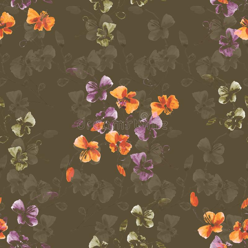 Seamless pattern small wild orange and violet flowers on a deep beige background. Watercolor. stock images