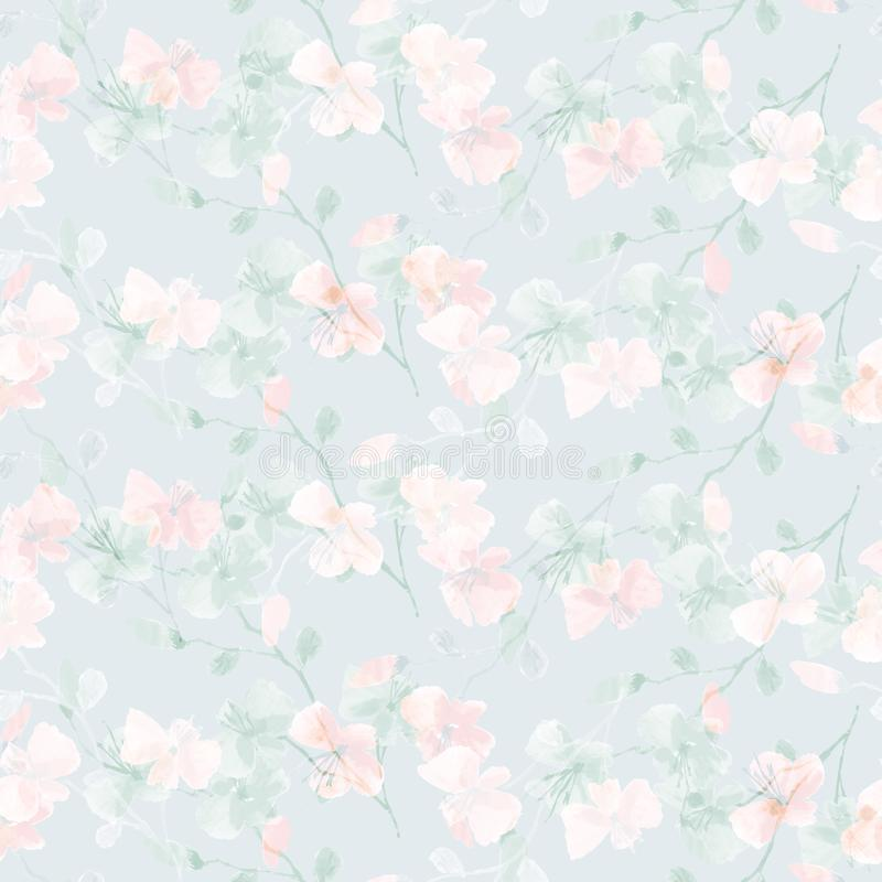 Seamless pattern small wild pink and blue flowers on a light blue background. Floral background. Watercolor -5 royalty free stock images