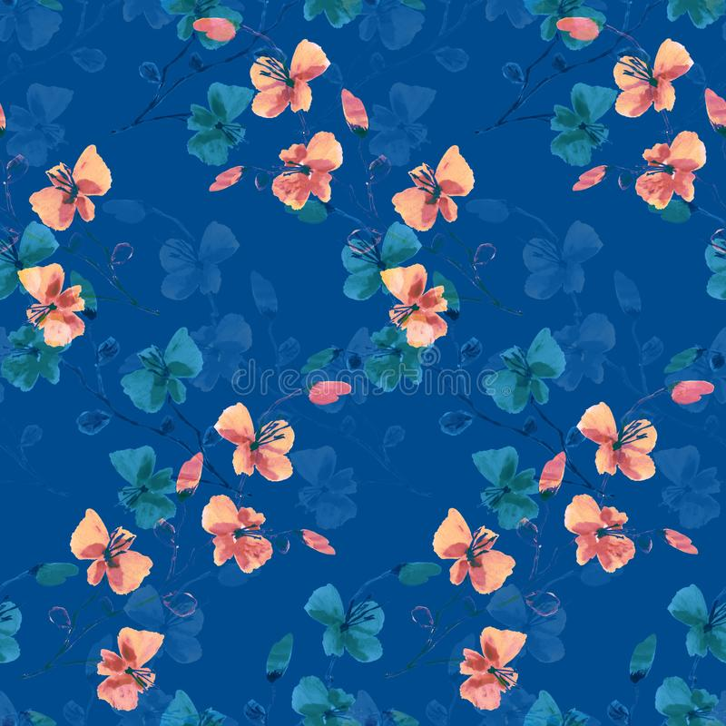 Seamless pattern small wild pink and green flowers on a deep blue background. Floral background. Watercolor -7 royalty free stock photo